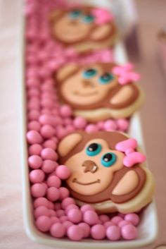 Cute cookies at a Monkey Girl Birthday Party!  See more party ideas at CatchMyParty!