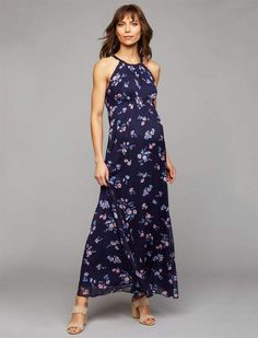 aa377ba3539c1 A Pea in the Pod Halter Maternity Dress Summer Maternity Fashion, Baby  Shower Dresses,