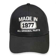 40th Years Anniversary Gift Made in 1977 all original parts Adult Cap Black Embroidery USA MADE HAT