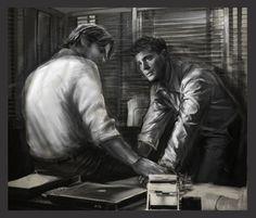 Sam and Dean investigating. Fanart. Talking points 3 by pompei77.deviantart.com. #spn