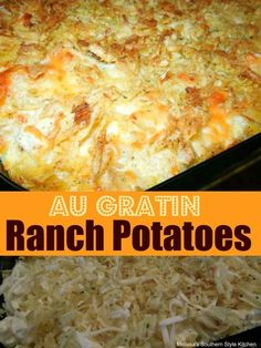 Simple side dishes don't come any easier than these cheesy Au Gratin Ranch Potatoes. Potato Side Dishes, Side Dishes Easy, Vegetable Side Dishes, Savoury Dishes, Side Dish Recipes, Veggie Recipes, Cooking Recipes, Potato Recipes, Potato Ideas