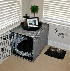 Dog Crates - Puppy Crate Training the Easy and Quick Way Check this useful article by going to the link at the image. Yorkie Names, Puppy Room, Puppy Crate, Dog Spaces, Small Spaces, Dog Corner, Crate Cover, Dog Area, Dog Rooms