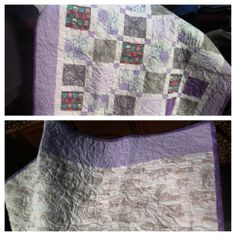 purple, lilac, and grey flannel makes this crib quilt Toddler Bed Quilt, Bed Quilts, Grey Flannel, Purple Lilac, December 2013, Cribs, Sewing Projects, Quilting, Blanket