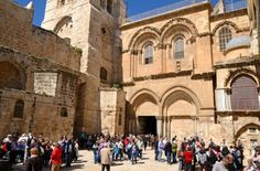 Christians gather at the Church of the Holy Sepulcher