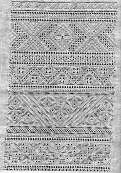 Great whitework sampler! Whitework embroidery of Sniatyn district, Pokuttia region, Ukraine: Hungarian Embroidery, Hardanger Embroidery, Hand Embroidery Stitches, White Embroidery, Embroidery Techniques, Cross Stitch Embroidery, Embroidery Patterns, Embroidery Sampler, Couture Invisible