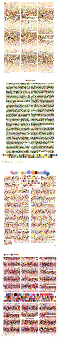 lauren dicioccio (dots on velum - each dot covers one letter in a magazine article... all color coded)