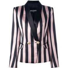 Balmain striped single button blazer ($3,455) ❤ liked on Polyvore featuring outerwear, jackets, blazers, balmain jacket, long sleeve blazer, blazer jacket, long sleeve jacket and striped jacket