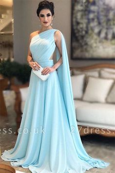Light Blue Prom Dresses,One Shoulder Prom Dress,Chiffon Formal Prom Gown, Simple Bridesmaid Dresses Long Prom Dresses Uk, Green Formal Dresses, Simple Bridesmaid Dresses, Cheap Prom Dresses, Elegant Dresses, Chiffon Dresses, Dress Prom, Party Dresses, Dress Long