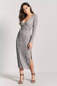 Product Name:Marled Knit Surplice Dress, Category:dress, Price:19.9