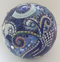 mosaic orb blue gazing ball garden terracotta stained glass spiral checkered cobalt copper marble on Etsy, $300.00