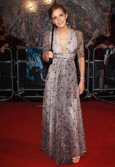 Actress Emma Watson at the premiere of Harry Potter And The Half Blood Prince wearing vintage Ossie Clark in 2009