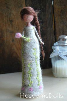 Rosa-aguja fieltro muñeca Waldorf decoración del hogar
