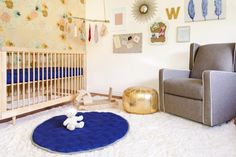 """""""I always said I didn't want everything pink just because I was having a girl,"""" says CaCee Cobb, longtime BFF of Jessica Simpson. CaCee welcomed a daughter, Wilder, in April, with her husband, actor Donald Faison. (Brother, Rocco, is 2.) Cobb started with a blue mattress, but the decor did get more feminine from there—with a whimsical hanging branch and vintage-feeling wallpaper. """"Of course, now that Wilder is here,"""" Cobb says, """"all I do is dress her in pink!"""" (via Parents.com) #nursery…"""