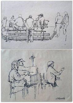 Figure Sketching, Urban Sketching, Figure Drawing, Sketches Of People, Art Sketches, Art Drawings, Silhouette Painting, People Illustration, Sketch Painting