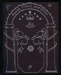 Speak, Friend, and Enter, Mines of Moria cross stitch pattern