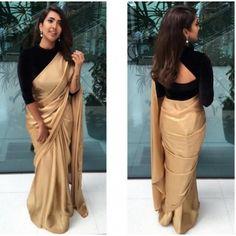 golden saree with black blouse designs Black Blouse Designs, Saree Blouse Neck Designs, Black Saree Blouse, Blouse Patterns, Black Saree Plain, Full Sleeves Blouse Designs, Neckline Designs, Blue Saree, Churidar