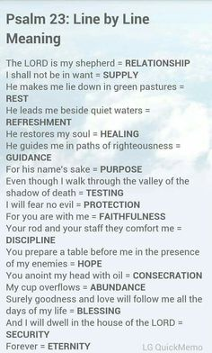 Psalm 23: Line By Line Meaning