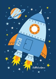 Made with cotton canvas material, this poster is strong and sturdy with vivid colors, ideal for your home decoration! Design: Rocketship Note: Frame is NOT included Drawing For Kids, Art For Kids, Crafts For Kids, Space Themed Nursery, Nursery Art, Idee Baby Shower, Art Projects, Projects To Try, Ship Drawing