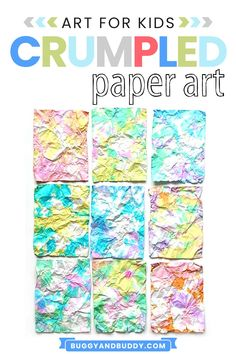 Make colorful textured paper in this easy process art project for kids! Not only is the hands-on, sensory art project fun to do, it's even more exciting to see the results! Art Therapy Projects, Art Therapy Activities, Arts And Crafts Projects, Projects For Kids, Creative Activities For Kids, Fun Crafts For Kids, Creative Kids, Kids Fun, Art Education Lessons