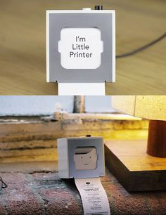 I'm Little Printer. I can't wait to add this little guy to my icollection. PLEASE go watch the little video of the little guy in his little printing action. ITS AWESOME!