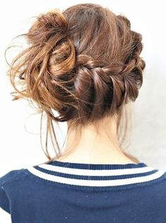 Photo: messy french braid bun Categories: Hair & Beauty Added: Description: messy french braid bun is creative inspiration for us. Get more photo about Hair & Beauty related with messy french braid bun by looking at photos gallery at the bottom of. Messy Bun With Braid, Messy Braids, Bun Braid, Braid Hair, Messy Buns, Side Braids, Lace Braid, Bun Updo, Side Plait