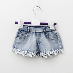 Cheap kids shorts, Buy Quality shorts children directly from China children shorts Suppliers: 2016 Summer Fashion Girls Lace Flower Denim Pocket Short Jeans Pants Baby Casual Trousers Kids Shorts Children's Clothing New Denim And Lace, Lace Jeans, Lace Shorts, Girls Jeans, Kids Shorts, Summer Shorts, Hot Pants, Jeans Pants, Baby Girls Clothes
