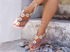 Barefoot Sandles, Crochet  Flower Light beige  Barefoot Sandals, Nude shoes, Foot jewelry, Wedding, Victorian Lace. €14.00, via Etsy.