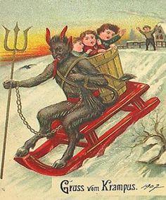 KRAMPUS STEALING CHILDREN ON CHRISTMAS CARD  Just like all my childhood memories.
