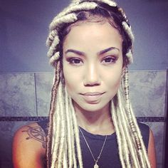 Jhene Aiko Rocks Blonde Faux Locs Read the article here - http://www.blackhairinformation.com/general-articles/celebrities/jhene-aiko-rocks-blonde-faux-locs/ #jheneaiko #fauxlocs
