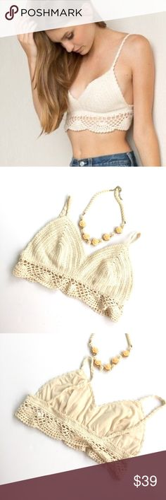 UO Cream crochet bralette crop top NWOT purchased from urban outfitters. Brand is coco and Jameson. Size M •no trades• Urban Outfitters Intimates & Sleepwear