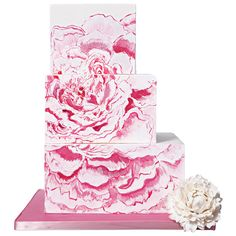 #Deconstructed #Peony #wedding #cake by Lulu Cake Boutique. #pink