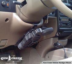 Gum Creek - Vehicle Holster Mount, Steering Wheel Handgun Mount, Anti-CarJacking, Anti Car Jacking