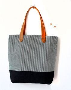 Stripe Canvas Bag leather and canvas tote bag beach bag by Oyeta