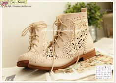 natural kei lace boots