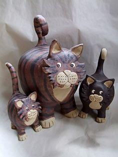 Ceramic cat figures by artist Sue Jenkins