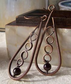 Copper and Garnet Wire Wrap Earrings