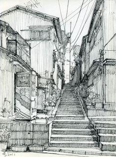 Back alley. Sketch by Suzuken