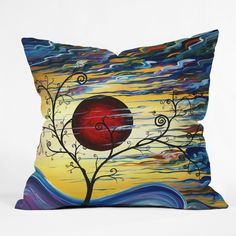 Madart Inc. Curling With Delight Throw Pillow
