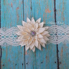 Cream Kanzashi Flower  Choose elastic  Baby by SofiasBeautyCloset