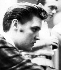 Elvis at R.C.A studio ( New-York ) in july 2 1956 taking a break.