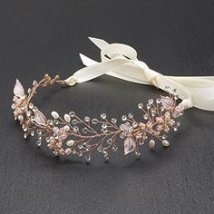 Mariell Rose Gold Freshwater Pearl and Crystal Bridal Hair Vine Ribbon Headband >>> Read more reviews of the product by visiting the link on the image.