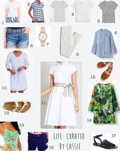 Freshly curated 2018 Spring/Summer Capsule Wardrobe #springlooks #summerfashion #boden #lillypulitzer #birkenstock #toryburch #jcrewfactory #katespade #whitedress #summerlooks #springpacking #gingham #navy #stripes #white