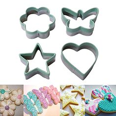 Ecoart Cookie Cutter Set - Star Flower Heart Butterfly Shapes Biscuit Cutter - Stainless Steel Sandwich Cutter / Vegetable Cutter for Kids and Adults (Set of 4) ** Insider's special offer that you can't miss : Baking Accessories