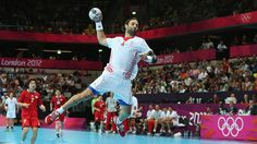 Ivano Balic of Croatia jumps to score during the men's Handball Group Bpreliminary roundsbetween Croatia and Korea at the Copper Box on Day 2.