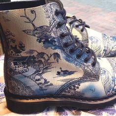 Hand Painted Blue Willow Doc Martens