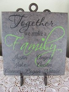 Tile with vinyl lettering, Cut on a Klic-N-Kut Tile Projects, Vinyl Projects, Craft Projects, Ceramic Tile Crafts, Vinyl Monogram, Vinyl Quotes, Vinyl Tiles, Vinyl Crafts, Wooden Crafts