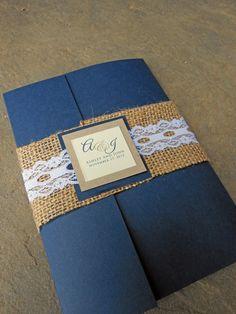 Burlap & Lace Pocketfold Wedding Invitation  Navy by J2ADesigns, $5.00    Custom colors available