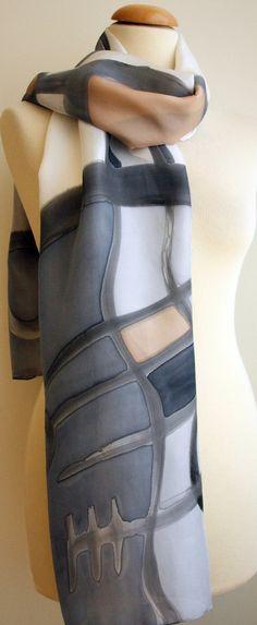 Handpainted Silk Scarf.Black and white Silk Scarf.Handpainted Silk Shawl.Wedding.Bridesmaids.Giveaways. Silk Art.Woman. 18x71in(180x45cm) de gilbea en Etsy