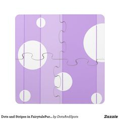 Dots and Stripes in FairytalePurple Puzzle Coaster