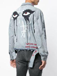 Haculla Responsible For Nothing Denim Jacket - Farfetch Jean Jacket Outfits, Denim Jacket Men, Foto Fashion, Denim Fashion, Denim Kunst, Custom Denim Jackets, Painted Denim Jacket, Denim Ideas, Shirt Print Design